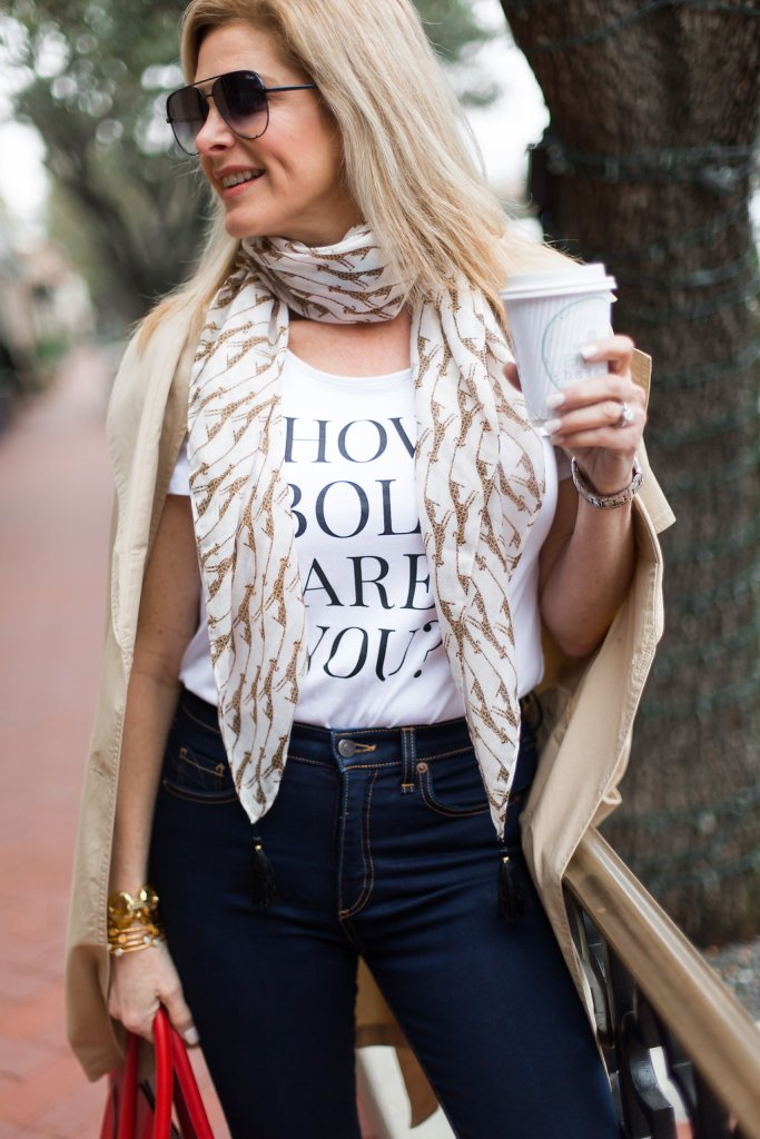 Chico's #HowBoldAreYou campaign, Veronica Beard jeans, trench coat, Chico's scarf
