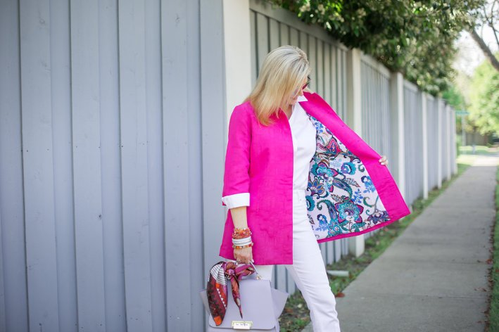 Chico's pink jacket, white girlfriend jeans and white no-iron shirt