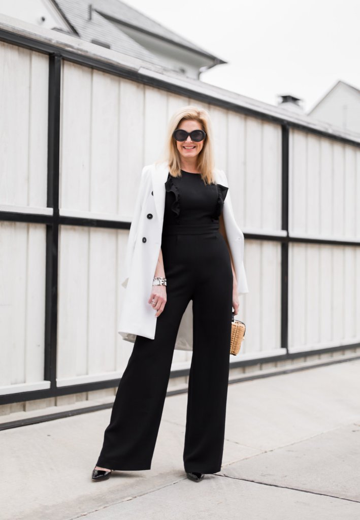Charles Henry Black Jumpsuit, Zara White Coat, Free People Wicker Basket Purse, Quay Sunglasses