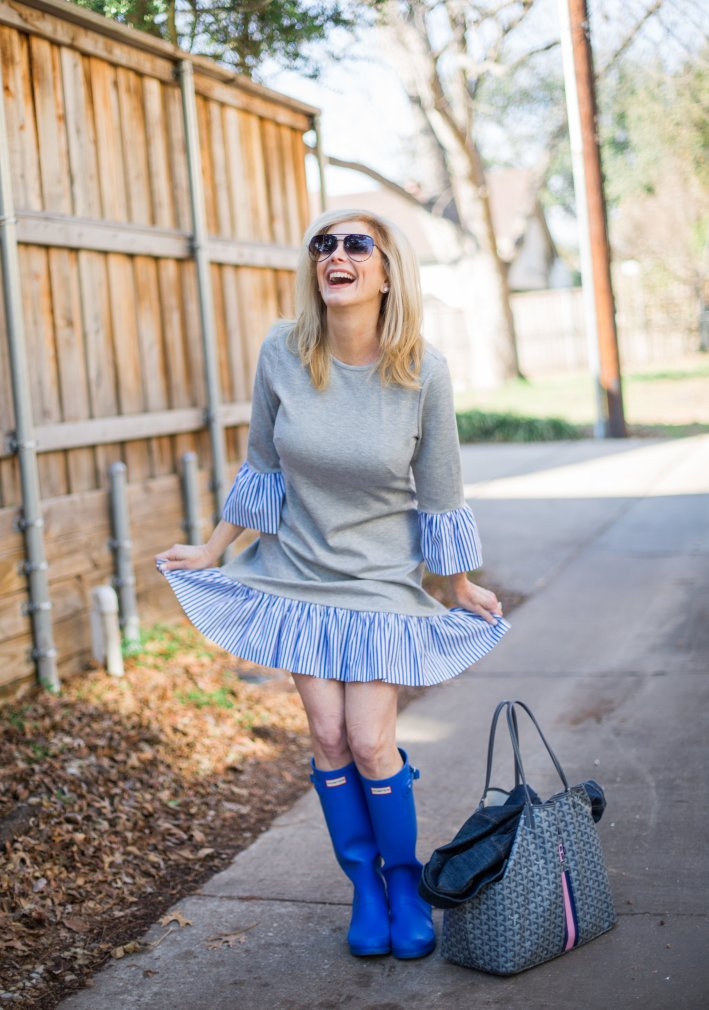 Eliza J shirt dress with ruffles, Hunter Boots and Goyard bag