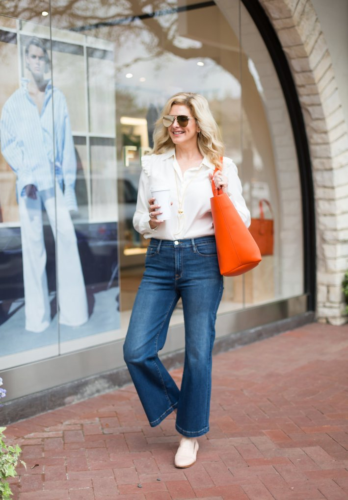Frame denim flare crop jeans, cream blouse and the Les Second bag in citrus size large, Sezane loafers