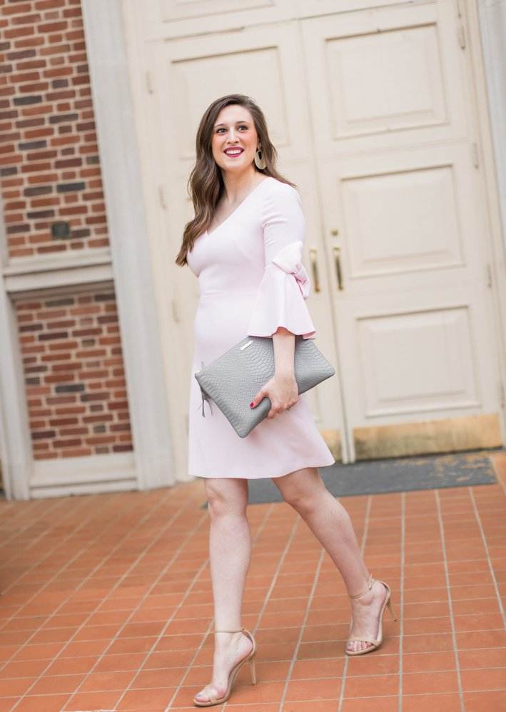 Eliza J Dress, Blush, Nude Heels, Gray Gigi Clutch, Kendra Scott Earrings