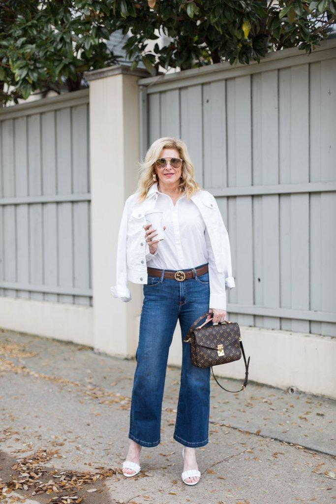 Frame denim, Taryn Rose , Louis Vuitton, white denim jacket, Gucci belt, white shoes