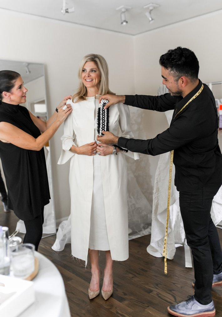 Patti Flowers Design Studio creates a custom dress and long jacket for Tanya Foster.