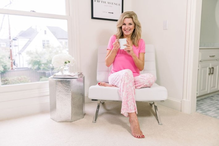 Tanya Foster in Soma Cool Nights pajamas drinking coffee