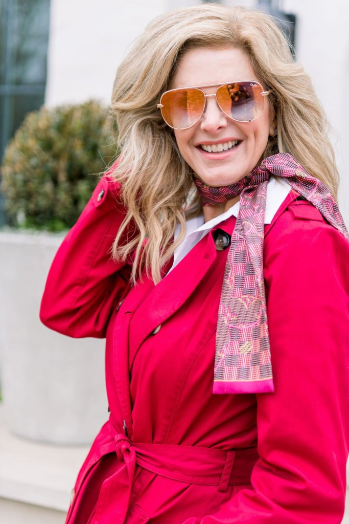 Tanya Foster wearing Talbots spring collection including this read trench coat