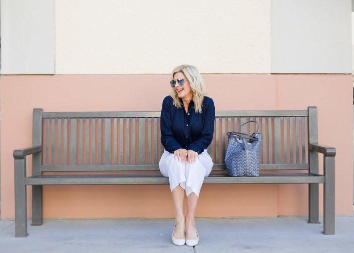 J. Jill navy Essential linen shirt and white stretch linen button front pants