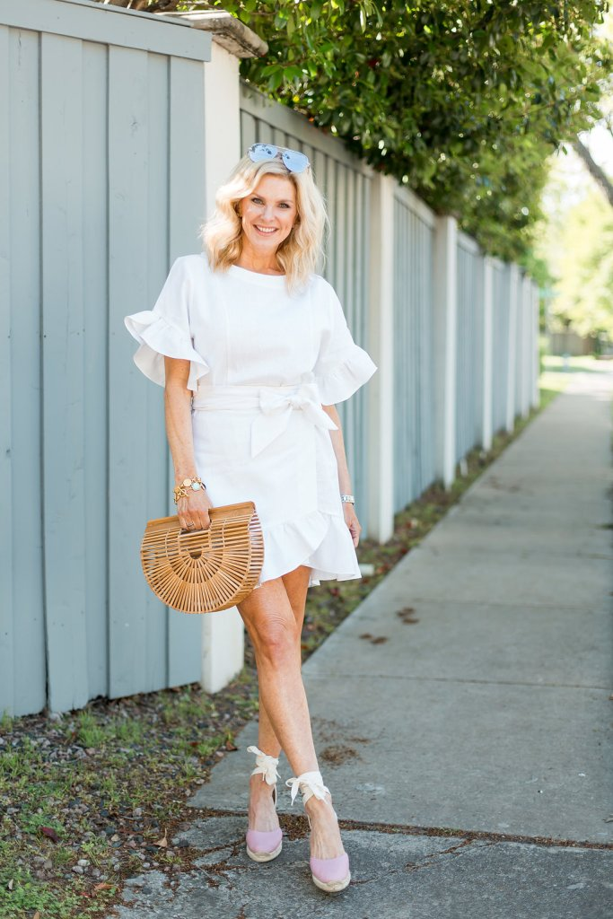 Faux wrap dress with espadrilles and Cult Gaia bag
