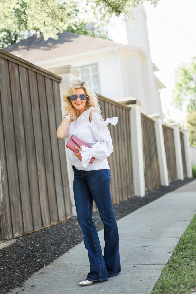 Casual and cool weekend wear with Nordstrom. Denim with white shirt on Tanya Foster