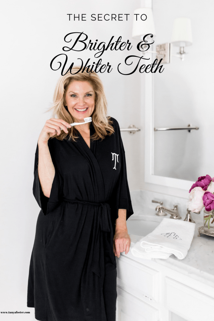 Tanya Foster trying AP-24 whitening fluoride toothpaste by Nu Skin