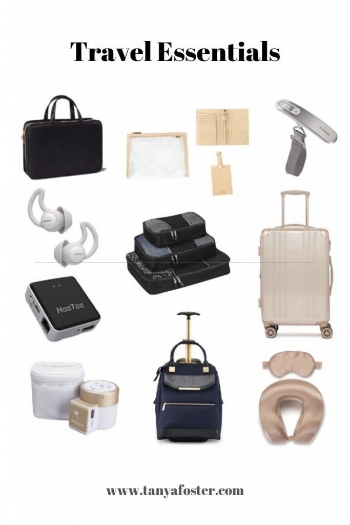 Travel Gadgets & Essentials | Best Travel Gadgets And Essentials by popular Dallas travel blogger, Tanya Foster: collage image of Amazon eBags Classic Packing Cubes for Travel, Calpak Silk Travel Neck Pillow & Eye Mask Set, Bose Noise Masking Sleepbuds, Ambeur 22-Inch Rolling Spinner Carry-On, HooToo Wireless Travel Router, USB Port, and Dandelion Travel Adapter Outlet Adapter Traveler Accessory Universal Wall Charger.