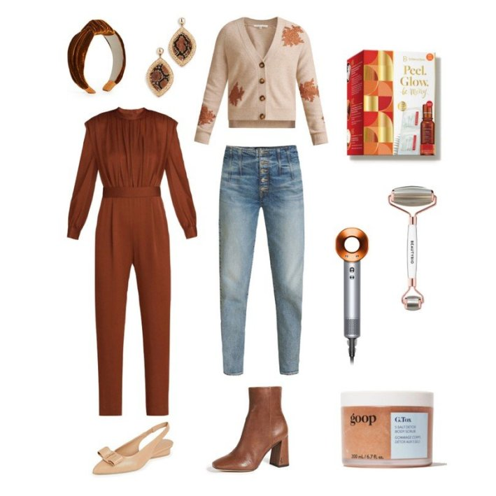 autumn color flat lay fashion edit with beauty products