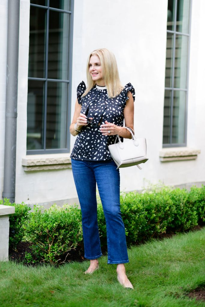 Tanya Foster wearing Avara blouse and ann taylor jeans