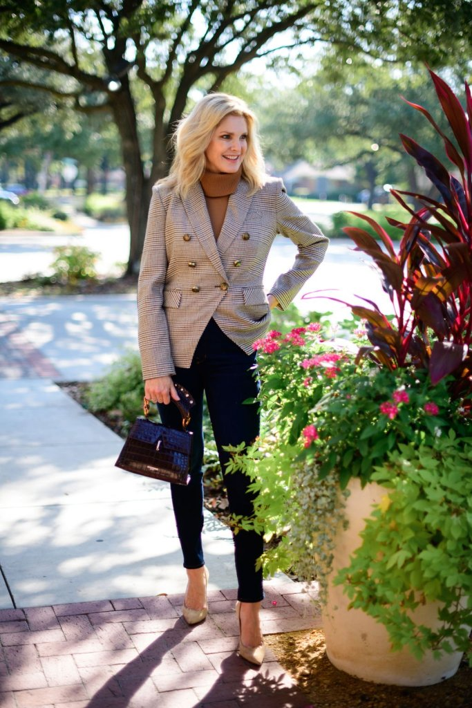 TAnya Foster in veronica beard skinny jeans and plaid blazer alice + olivia sweater turtleneck christian louboutin shoes and demellier bag