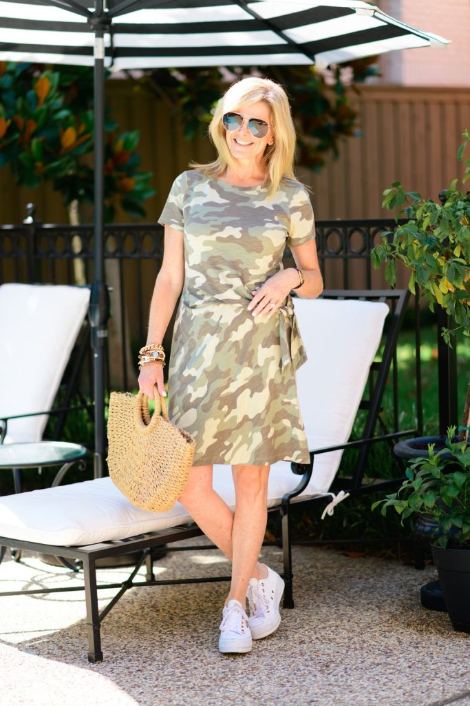 tanya foster in chico's camo dress