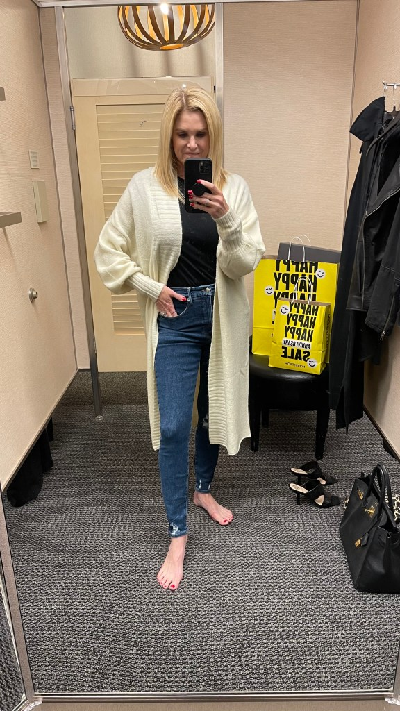 Tanya Foster wearing Nordstrom anniversary sale under $50 sweater
