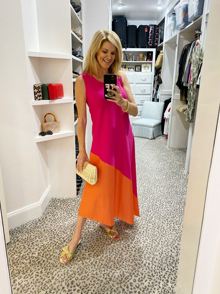Tanya Foster in chicos colorblock dress