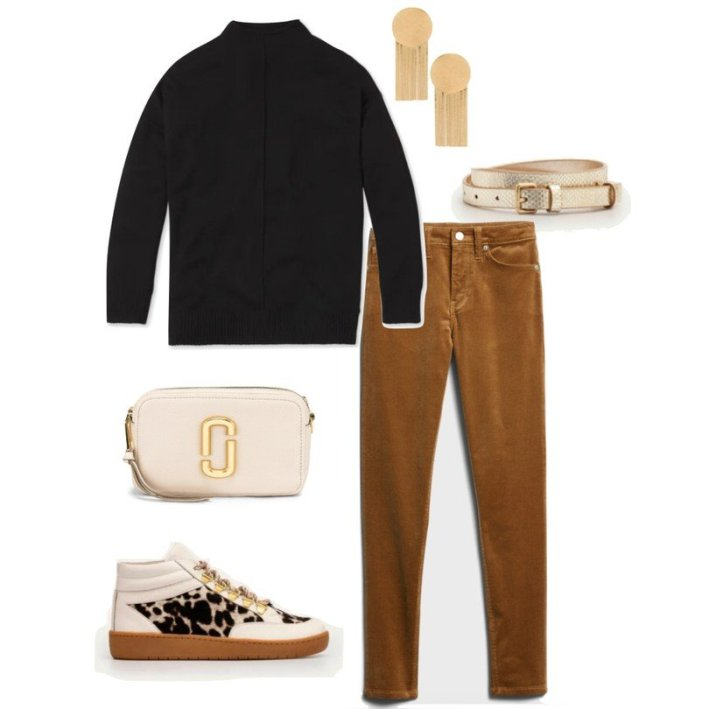corduroy pants black mock neck top fashion sneakers and accessories