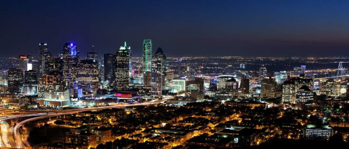 Dallas city skyline at night
