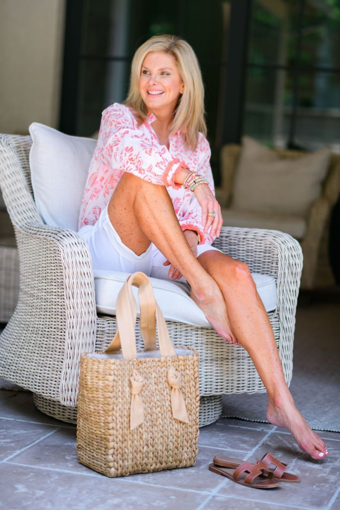 how to style a blouse this summer Tanya foster in sail to sable blouse and talbots girlfriend denim jean shorts