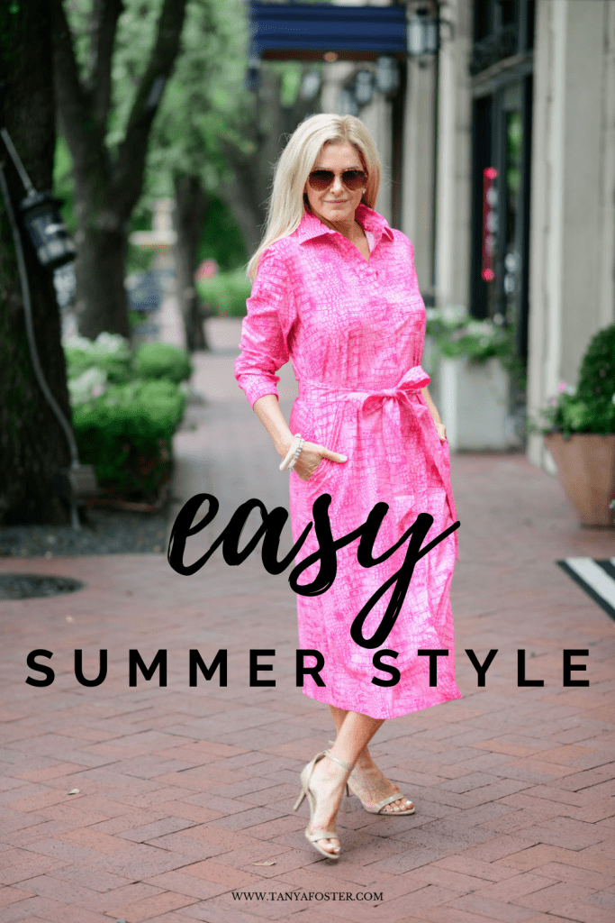 easy summer style tanya foster wearing chico's pink poplin shirt dress