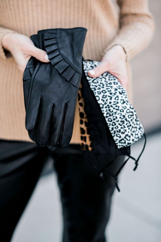 chico's ruffle trimmed leather gloves and face masks