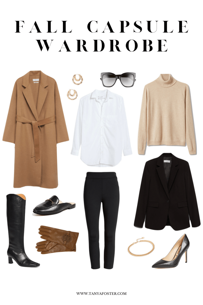 Fall capsule wardrobe collage of items