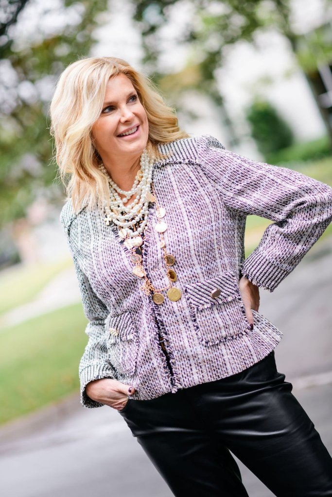 Tanya foster in chico's tweed jacket and faux leather pants