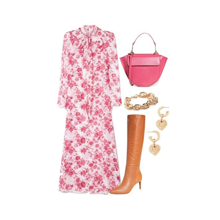 pink floral maxi dress brown high boots fashion edit