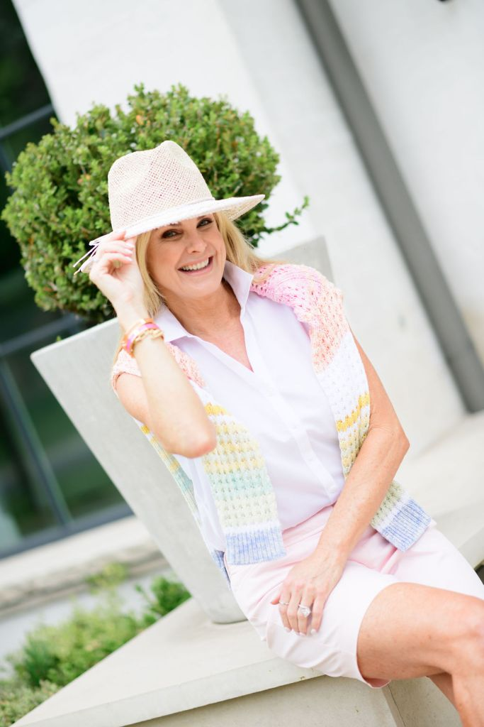 tanya foster wearing talbots sleeveless shirt perfect shorts sweater and accessories
