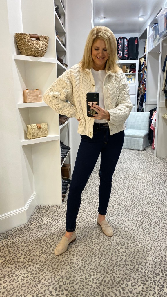 tanya foster in H&m cable knit cardigan veronica beard skinny jeans and cecelia ny suede loafers