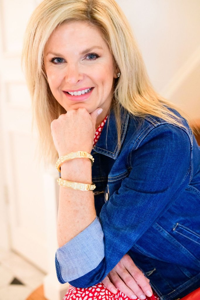 Tanya Foster in talbots look denim jean jacket and bangles