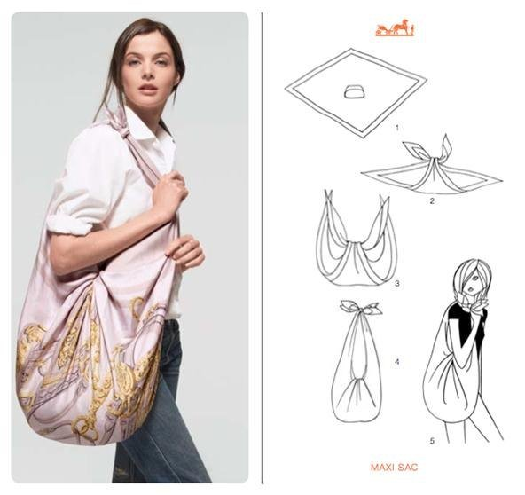 Manual to tie a Hermes scarf - hobo bag