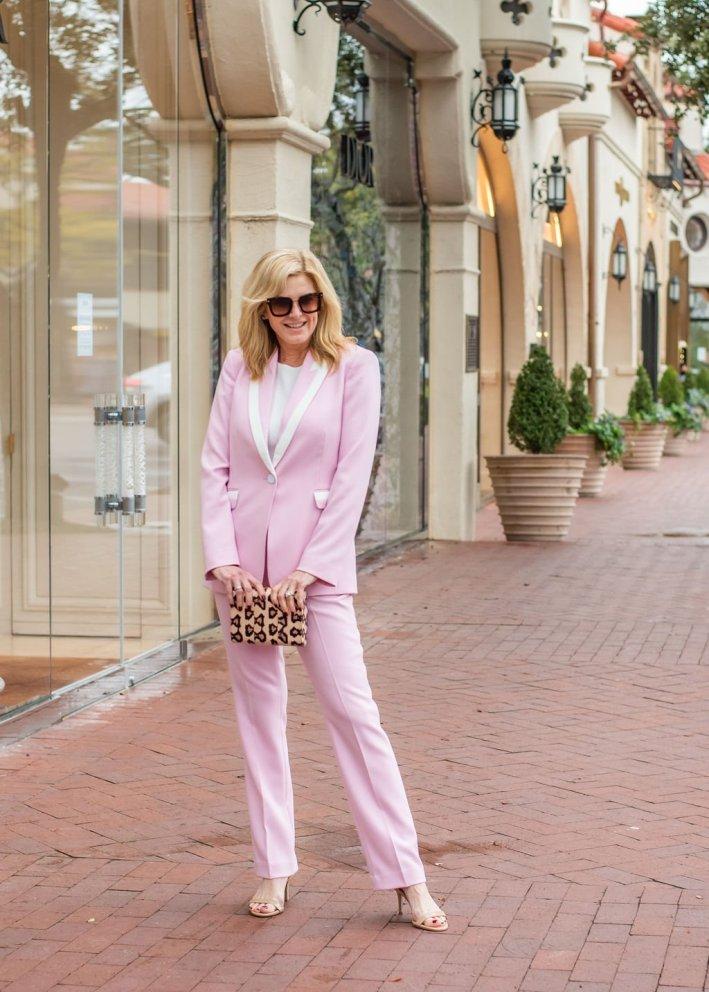 Tanya foster wearing Tahari ASL pink pant suit