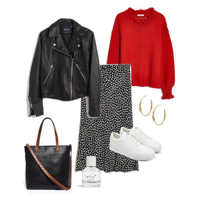 flatlay fashion edit madewell faux leather jacket midi skirt sneakers and sweater with accessories