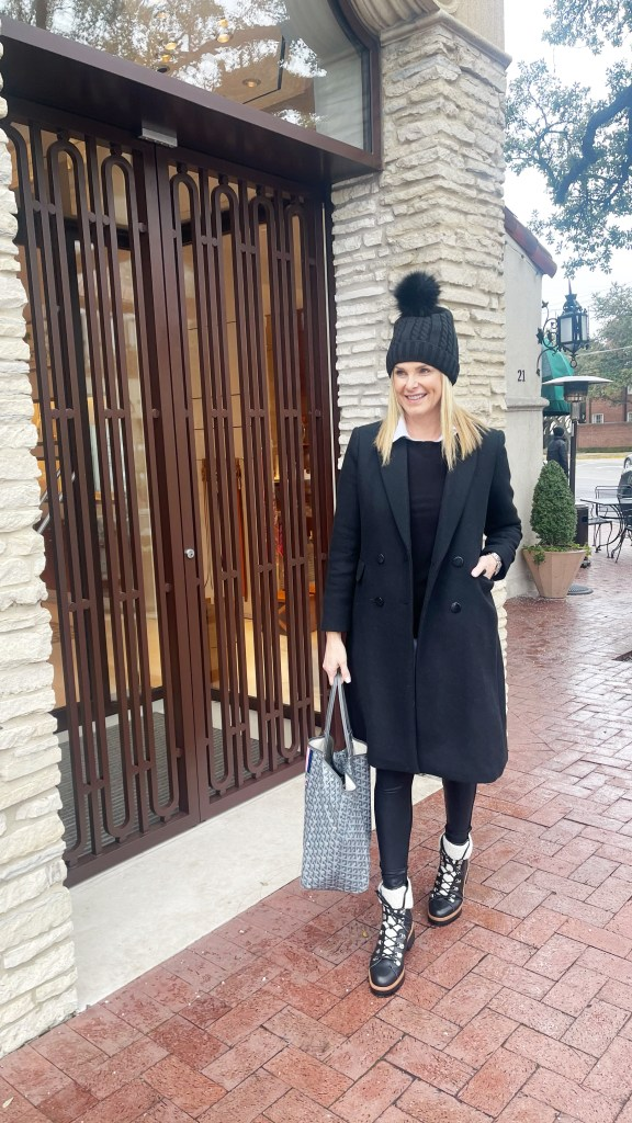 tanya foster wearing faux leather leggings sweater mango double breasted coat and hat