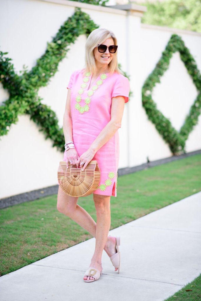 Tanya Foster in sail to sable pink embroidered dress