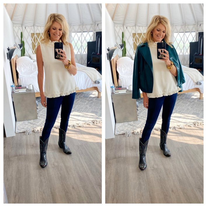 Tanya Foster in sail to sable cream ruffle neck blouse veronica beard kate skinny jeans chico's teal faux leather jacket and cowboy boots