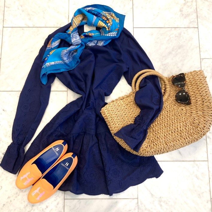 sail to sable blue lace dress with hermes scarf hadleighs shoes and straw bag with tuckernuck sunglasses
