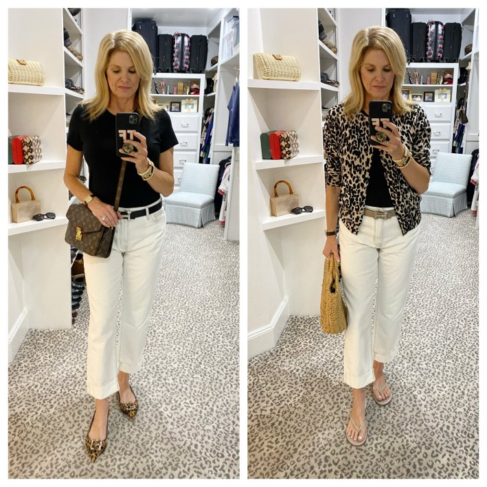 Tanya Foster in white jeans black mott and bow crew tee leopard cardigan hermes belt and louis vuitton crossbody