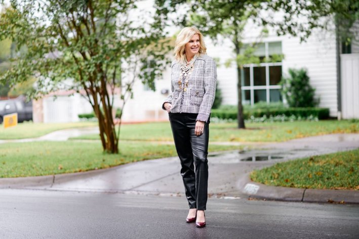 Tanya foster in chico's blouse and tweed jacket for jacket season plus faux leather pants with m. gemi croc heels
