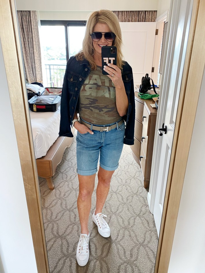 Tanya Foster in Disney star wars shirt and talbots jean shorts to go to disney world