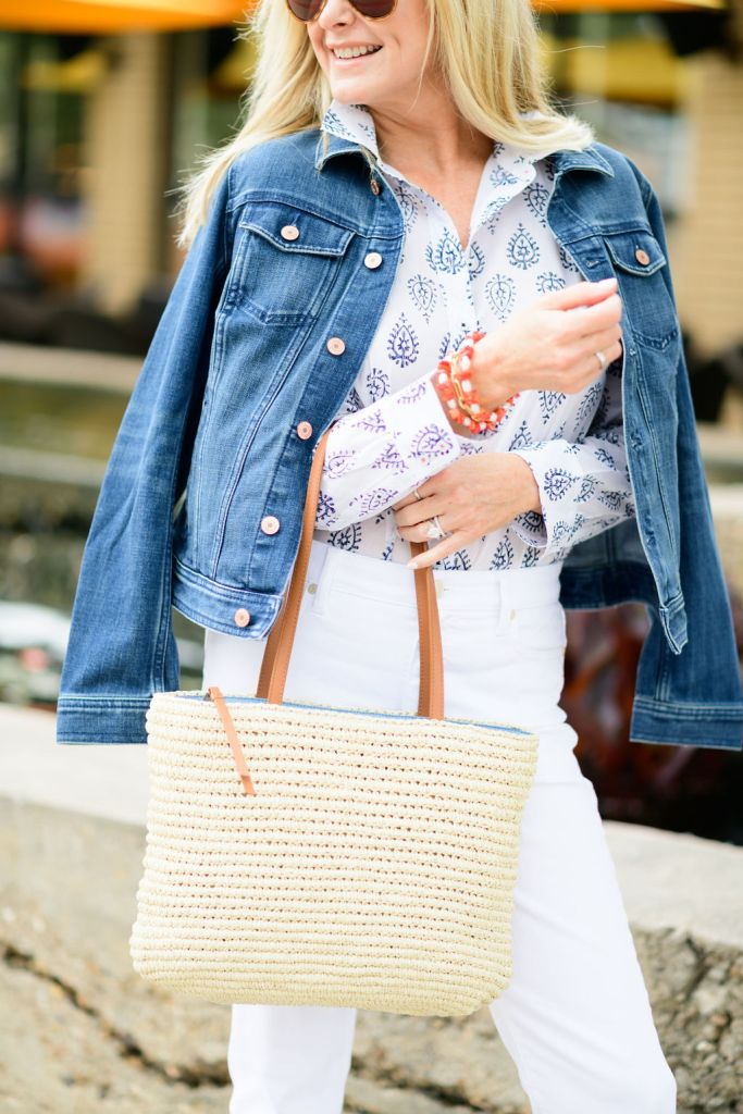 tanya foster wearing talbots white jeans and perfect shirt with jean jacket and straw bag