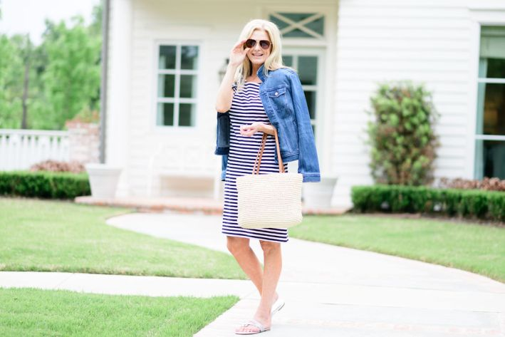 tanya foster wearing talbots dress with jean jacket sandals and straw bag