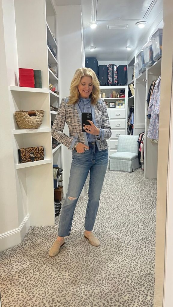 tanya foster wearing tahari blouse and blazer and veronica beard jeans