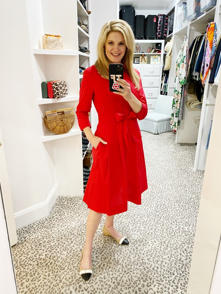 tanya foster in a red talbots dress
