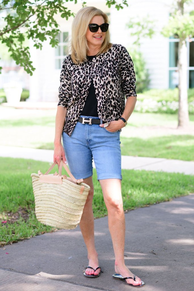 Tanya Foster in nordstrom animal print sweater black crew tee talbots girlfriend shorts mango bag and tkees flip flops
