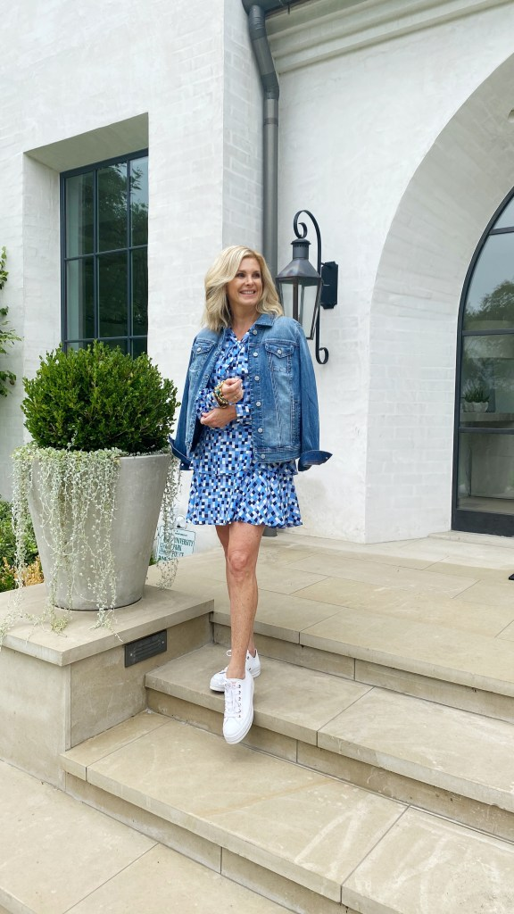 tanya foster in a sail to sable dress chico's denim jacket and converse sneakers