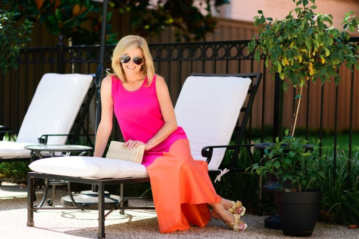 tanya foster in pink and orange chicos dress
