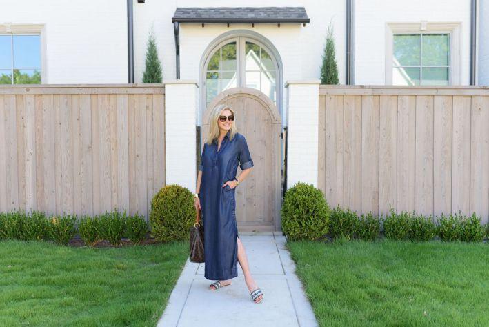 Tanya Foster wearing chico's denim dress